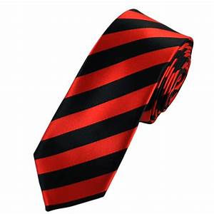 Red & Black Striped Satin Skinny Tie from Ties Planet UK