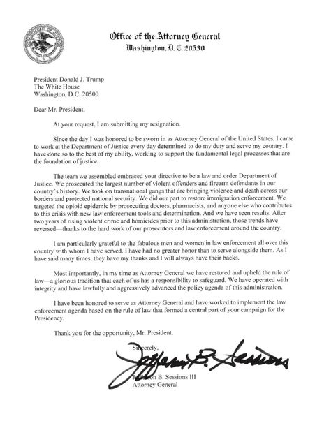 sessions resignation letter newsadvancecom