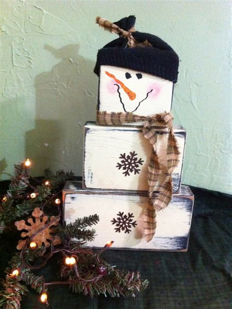 primitive christmas decor santa snowman