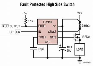 Lt1910  Fault Protected High Side Switch Circuit