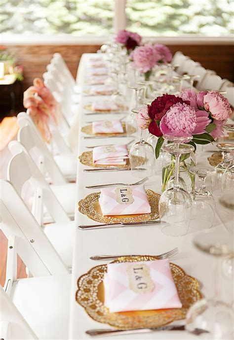 6 engagement party place settings pink peonies gold doilies themed soiree crafts ideas pretty