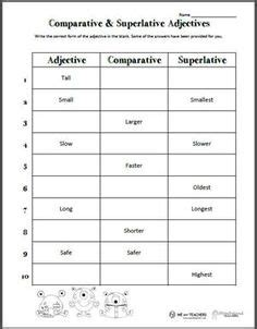 comparative and superlative adjectives tons of great printables for 2nd grade tutoring
