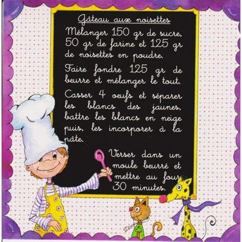 recette de cuisine humoristique carte postale recette de gâteau aux noisettes recette