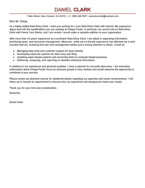 resume and cover letter for data entry clerk leading professional data entry clerk cover letter exles resources myperfectcoverletter