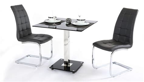 2 seater black glass dining table and chairs homegenies