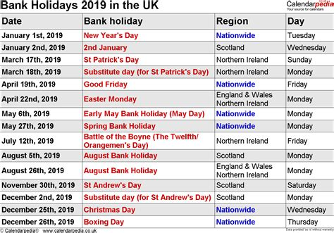 Bank Holidays 2019 In The Uk
