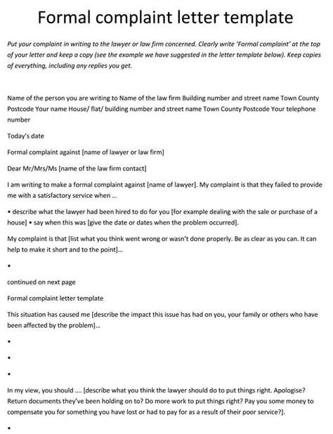 complaint letter templates samples  word  format