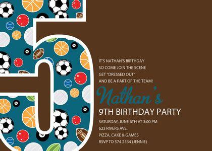 5th birthday invitation card template soccer number five green birthday invitations