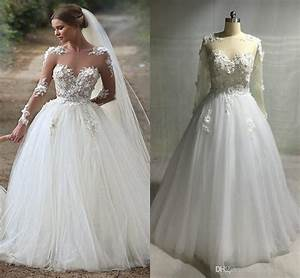 Discount sexy sheer top ivory long sleeve wedding dress for Best online wedding dress sites