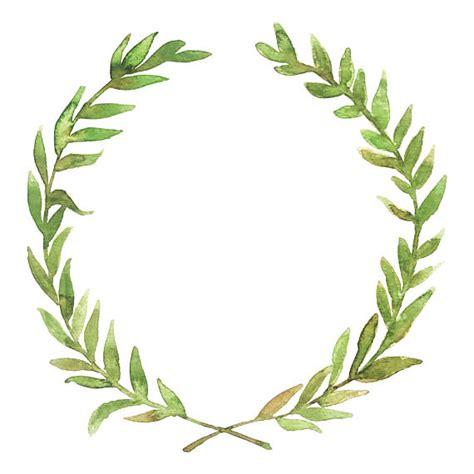 watercolor green laurel wreath download