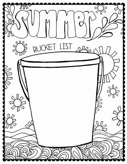 Bucket Coloring Summer Pages Worksheet Pail Clipart