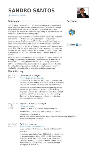 Commercial Manager Resume Samples  Visualcv Resume