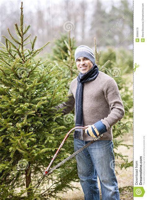 man cutting christmas tree stock photo image  people