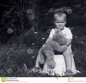 Sad Little Boy With Teddy Bear Black And White Stock Photo ...