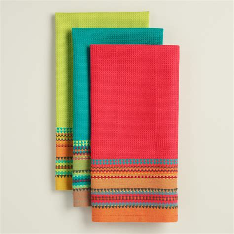 Kitchen Towels by Embroidered Stripe Waffle Weave Kitchen Towels World Market