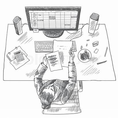 Accountant Sketch Table Sitting Place Woman Illustration