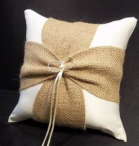 burlap accent ivory or white wedding ring bearer pillow With wedding pillow ring bearer