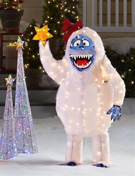 abominable snowman rudolph bumble lighted christmas yard