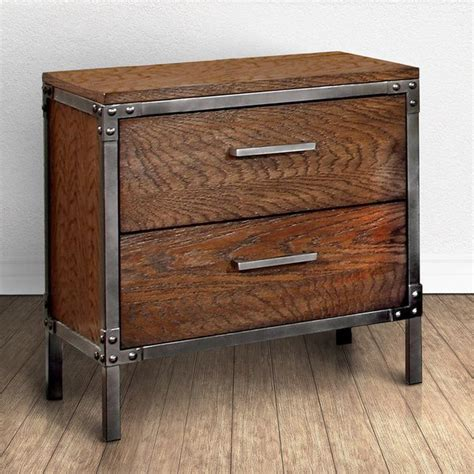 28 High Nightstand by 195 Furniture Of America Anye Industrial Style 2 Drawer