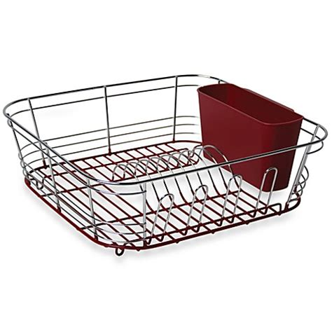 small sink dish rack omni small chrome dipped dish drainer in red bed bath