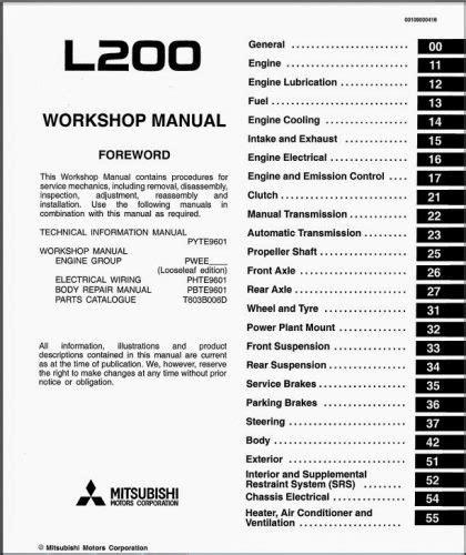 mitsubishi l200 pdf workshop manuals free carmanualshub
