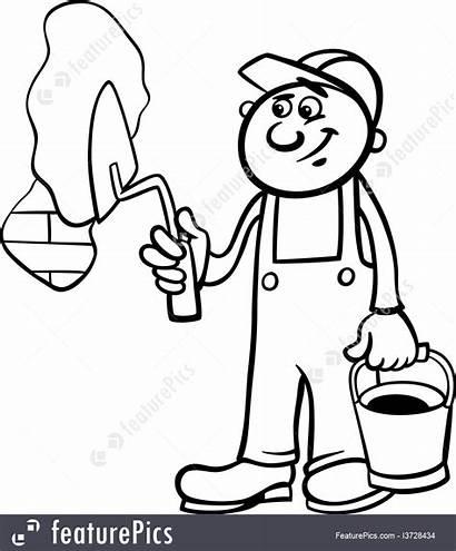 Worker Coloring Trowel Brick Wall Cartoon Illustration
