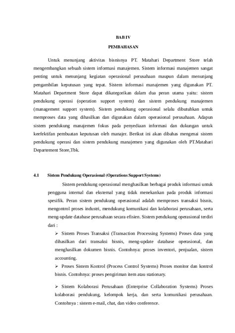 Implementasi Sistem Informasi di Perusahaan PT. Matahari