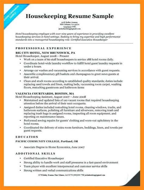 Resume For Housekeeping by 11 12 Housekeeper Duties For Resume