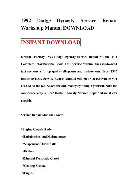 service manual how fix replacement 1992 dodge d250 club for a valve gasket service manual 1992 dodge dynasty service repair workshop manual download