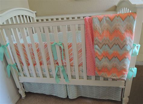 Coral And Mint Crib Bedding by Coral Mint Chevron Baby Bedding Set Babylovin