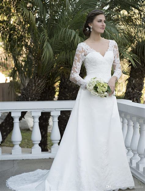 discount vintage   modest wedding dresses  long
