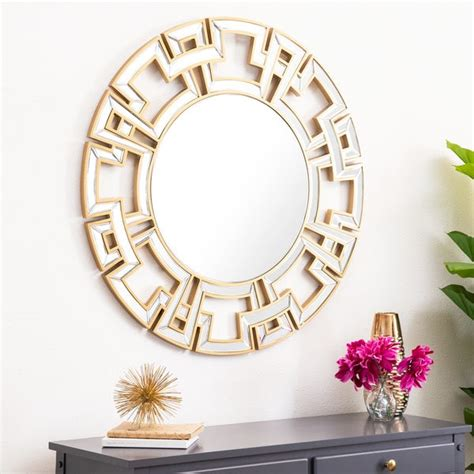 Sturdily built along with a wide mirror surface to gaze at, tivoli elevates the. Shop Abbyson Pierre Gold Round Wall Mirror - On Sale ...