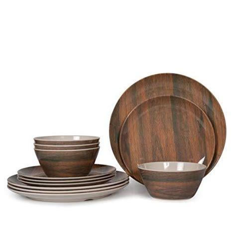 dinnerware melamine lightweight camping dishes wood grain unbreakable sets pcs dishwasher 12pcs safe dinner bowls plates seller tableware service