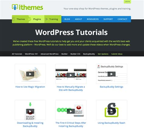 Wordpress Tutorial ithemes tutorials hub rolls     wordpress 1161 x 1032 · png