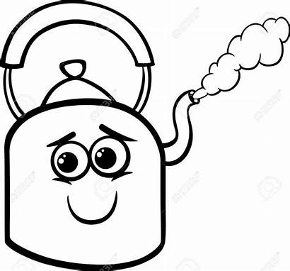 Steam Kettle Clipart Cartoon Water Coloring Vector