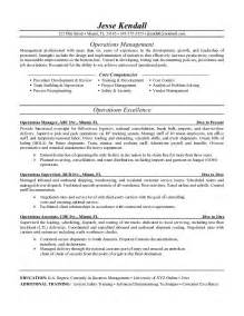 exle operations manager resume free sle