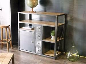 meuble industriel 4 tiroirs 1 porte bois metal micheli With meubles pour petits espaces 8 claustra decoratif en metal