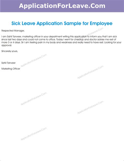 application letter format  leave  office office