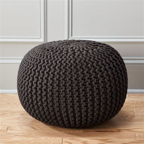 knitted ottomans knitted graphite pouf cb2