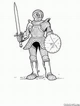 Coloring Spear Armored Knight Combatant sketch template