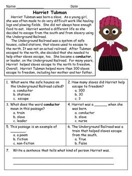 Harriet Tubman Close Reading Passage And Reading Comprehension Sheet