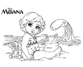 Moana Baby Coloring Pages