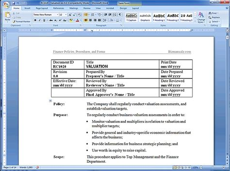 policy template word policy and procedure template peerpex