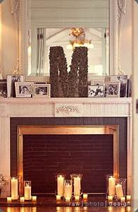 mantles fireplaces and monograms on pinterest With monogram letter for mantle