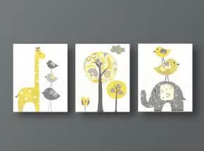 yellow gray nursery art baby nursery decor kids wall art baby