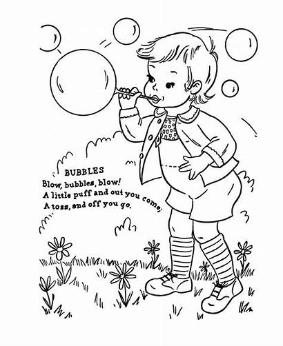 Nursery Rhymes Coloring Bubbles Rhyme Pages Blowing