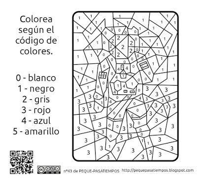 Peque pasatiempos: Colorear con código de colores PEQUE