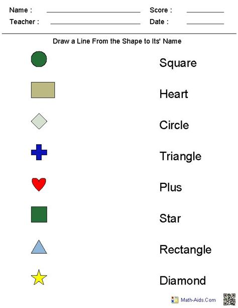 Matching Shapes To Their Names Worksheets  Math  Worksheets, Kindergarten Worksheets, Kindergarten