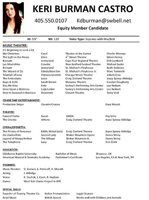 musical theatre resume examples  samples examples