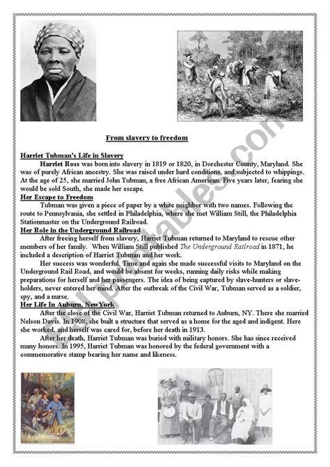 Harriet Tubman  Esl Worksheet By Darlamama